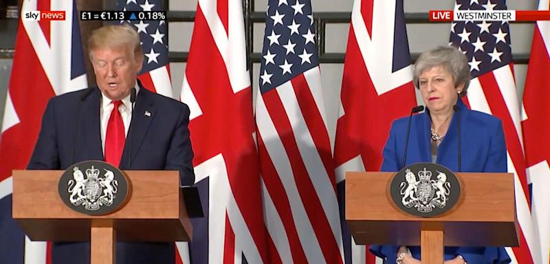 Donald Trump and Theresa May during their joint press conference (Picture: PA)