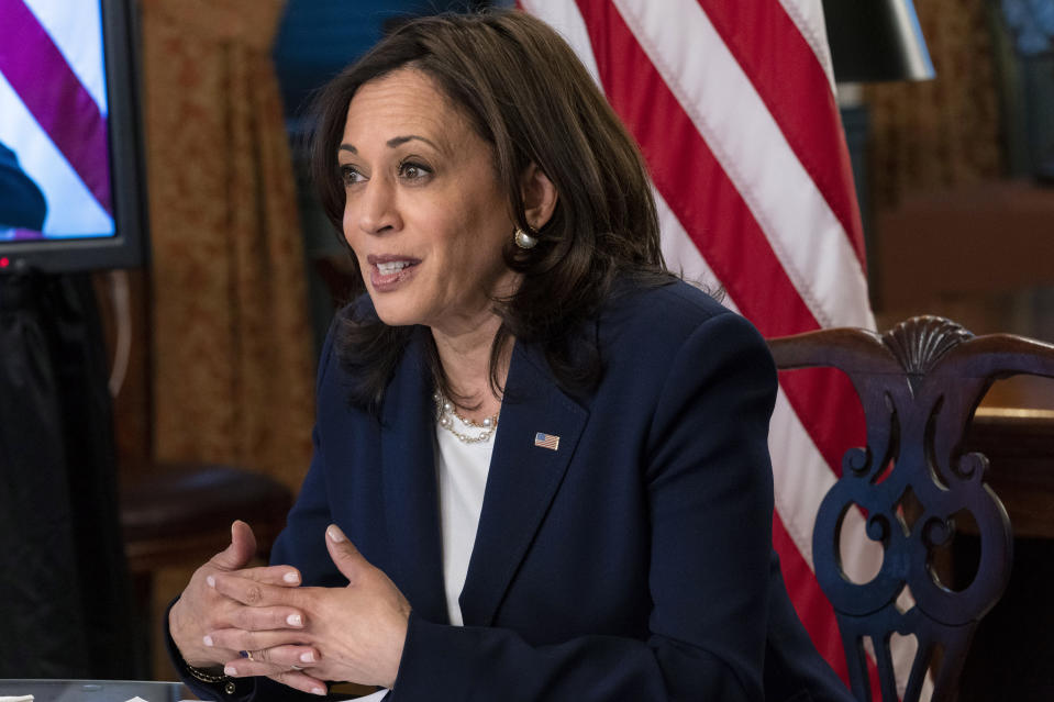 Vice President Kamala Harris meets virtually with Guatemala's President Alejandro Giammattei, Monday, April 26, 2021, from her ceremonial office at the Eisenhower Executive Office Building on the White House complex in Washington. (AP Photo/Jacquelyn Martin)
