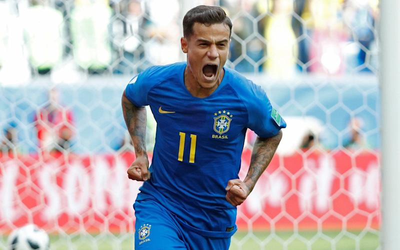 Philippe Coutinho at last breaks the deadlock to put Brazil 1-0 up over Costa Rica in the 92nd minute - REUTERS