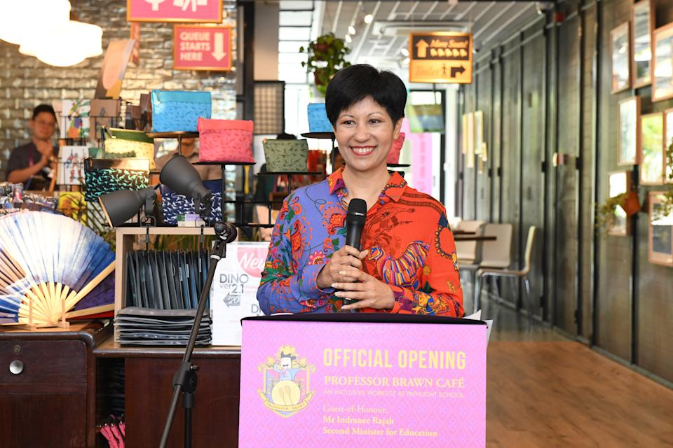 Second Minister for Education Indranee Rajah speaking at the launch of the social enterprise cafe on 26 July, 2019. (PHOTO: Pathlight)