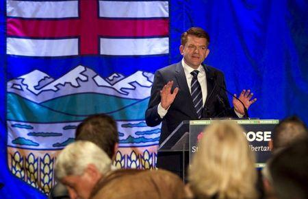 Wildrose party leader Brian Jean speaks to supporters after being declared leader of the opposition in the Alberta election in Fort McMurray