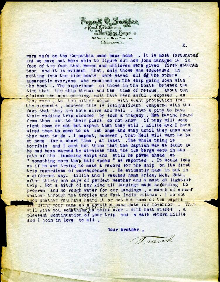 """<span style=""""font-family:Arial;"""">Dated April 18, 1912,</span><span style=""""font-family:Arial;"""">  a typed letter from John Snyder's father Frank to his brother Fred  details the aftermath of the historic incident from his perspective.  (Page 2 of 2)<br><br></span>(Photo courtesy of <a target=""""_blank"""" href=""""http://www.weissauctions.com/"""">Phillip Weiss Auctions</a>)"""