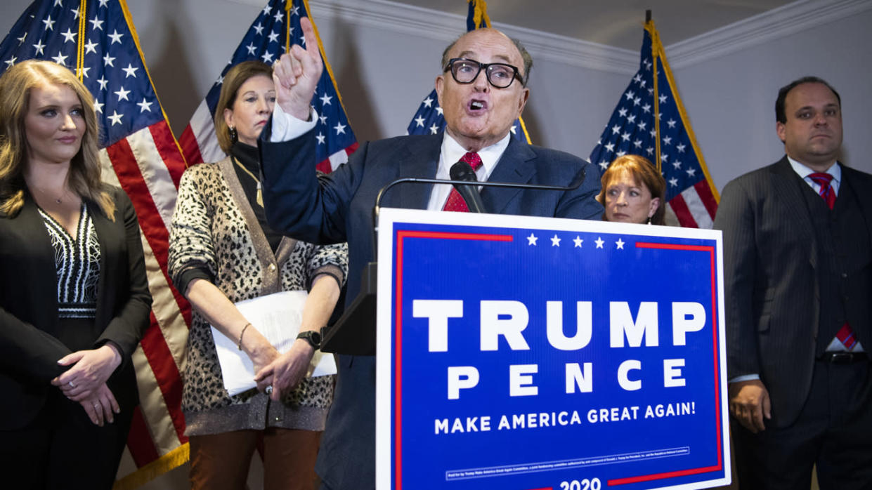 Rudolph Giuliani, attorney for President Donald Trump, conducts a news conference at the Republican National Committee, on lawsuits regarding the outcome of the 2020 presidential election on Thursday, November 19, 2020. (Tom Williams/CQ-Roll Call, Inc via Getty Images)