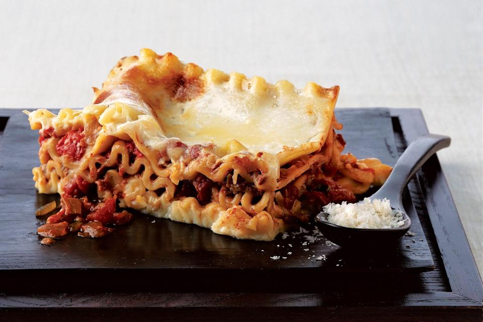 """Lasagna is the ultimate comfort food, and the whole family will love this vegetarian rendition. <a href=""""https://www.epicurious.com/recipes/food/views/wild-mushroom-lasagne-231497?mbid=synd_yahoo_rss"""" rel=""""nofollow noopener"""" target=""""_blank"""" data-ylk=""""slk:See recipe."""" class=""""link rapid-noclick-resp"""">See recipe.</a>"""