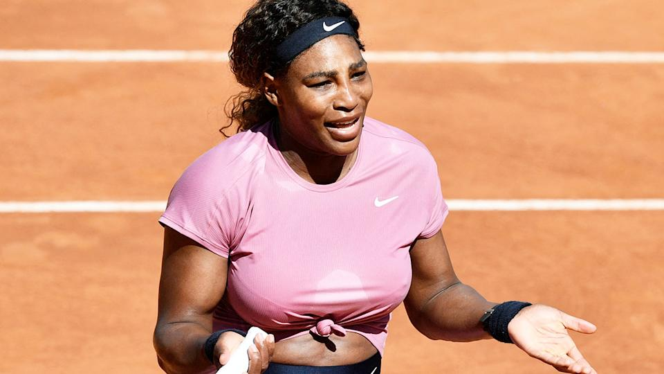 Serena Williams, pictured here during her match against Nadia Podoroska at the Italian Open.