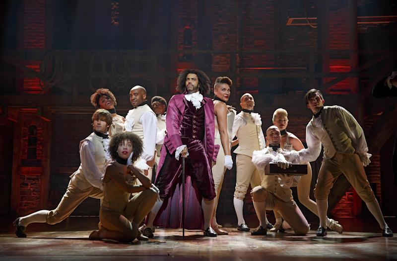 Show business: the Broadway cast of Hamilton with rapper Daveed Diggs as Thomas Jefferson, centre: Joan Marcus