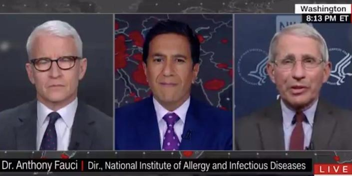 The CNN anchor Anderson Cooper and medical correspondent Dr. Sanjay Gupta spoke with Dr. Anthony Fauci during an interview on Thursday.