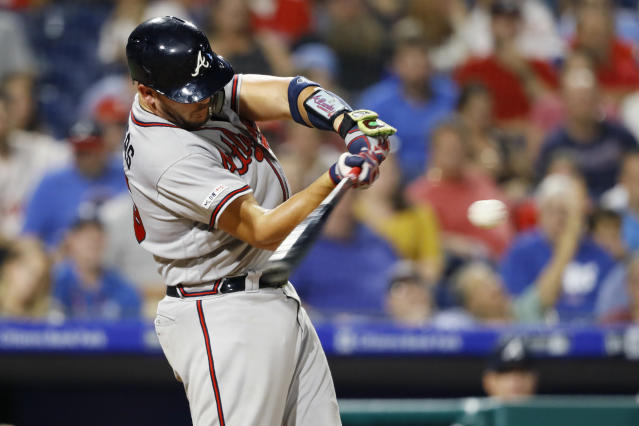 Atlanta Braves' Tyler Flowers hits a three-run home run off Philadelphia Phillies starting pitcher Zach Eflin during the fourth inning of a baseball game Wednesday, Sept. 11, 2019, in Philadelphia. (AP Photo/Matt Slocum)