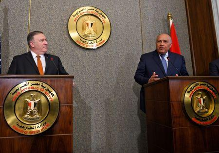 U.S. Secretary of State Mike Pompeo holds a joint press conference with Egyptian Foreign Minister Sameh Shoukry at the ministry of foreign affairs in Cairo, Egypt, January 10, 2019. Andrew Caballero-Reynolds/Pool via REUTERS