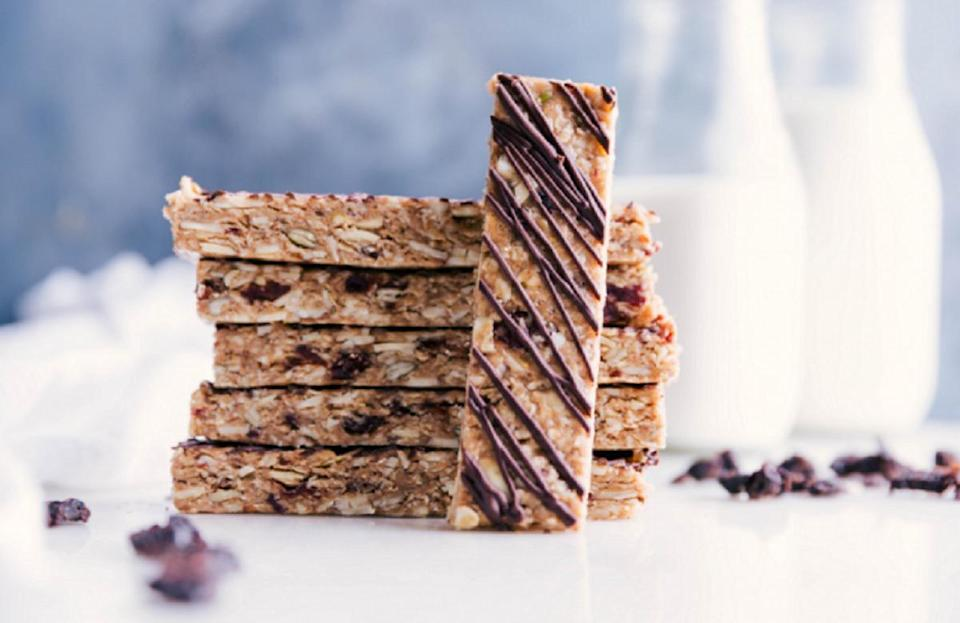 """<p>It's hard to beat a dessert that doesn't have a bake time, and these cherry granola bars fit the bill. Mixed with sliced almonds, pumpkin seeds, tart cherries and oats, these treats are perfect to <a href=""""https://www.thedailymeal.com/drink/coffee-types-explained?referrer=yahoo&category=beauty_food&include_utm=1&utm_medium=referral&utm_source=yahoo&utm_campaign=feed"""" rel=""""nofollow noopener"""" target=""""_blank"""" data-ylk=""""slk:pair with your morning coffee"""" class=""""link rapid-noclick-resp"""">pair with your morning coffee</a> or to have after a <a href=""""https://www.thedailymeal.com/cook/25-rice-dishes-will-make-you-forget-potatoes-slideshow?referrer=yahoo&category=beauty_food&include_utm=1&utm_medium=referral&utm_source=yahoo&utm_campaign=feed"""" rel=""""nofollow noopener"""" target=""""_blank"""" data-ylk=""""slk:hearty dinner"""" class=""""link rapid-noclick-resp"""">hearty dinner</a>.</p> <p><a href=""""https://www.thedailymeal.com/best-recipes/no-bake-cherry-granola-bars?referrer=yahoo&category=beauty_food&include_utm=1&utm_medium=referral&utm_source=yahoo&utm_campaign=feed"""" rel=""""nofollow noopener"""" target=""""_blank"""" data-ylk=""""slk:For the No-Bake Cherry Granola Bars recipe, click here"""" class=""""link rapid-noclick-resp"""">For the No-Bake Cherry Granola Bars recipe, click here</a>.</p>"""