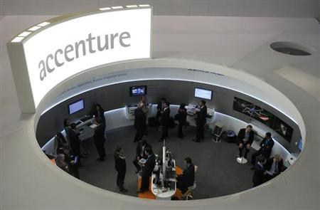 Visitors look at devices at Accenture stand at the Mobile World Congress in Barcelona, February 26, 2013.