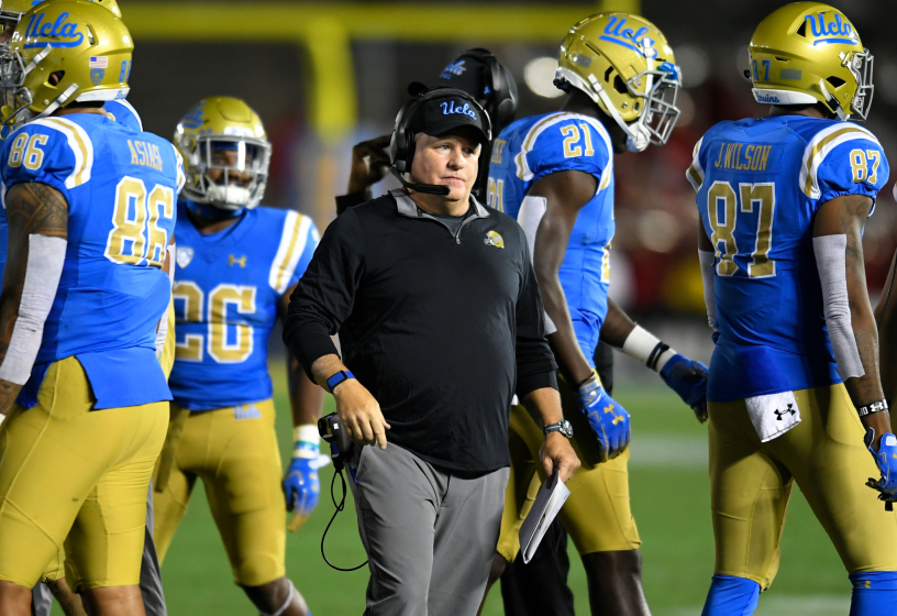 PASADENA, CA - OCTOBER 26: Chip Kelly head coach UCLA Bruins during a fourth quarter time out.