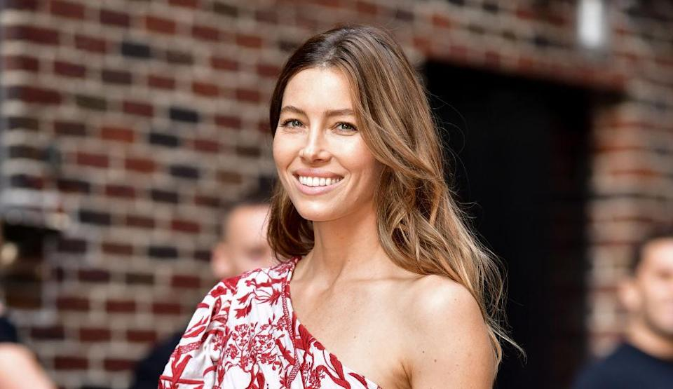 Jessica Biel arrives at <em>The Late Show With Stephen Colbert</em> on Aug. 15, 2018, in New York City. (Photo by James Devaney/GC Images)