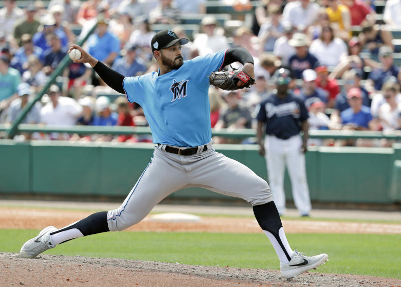 Miami Marlins' Pablo Lopez pitches against the Atlanta Braves in the fifth inning of a spring baseball exhibition game, Friday, March 15, 2019, in Kissimmee, Fla. (AP Photo/John Raoux)