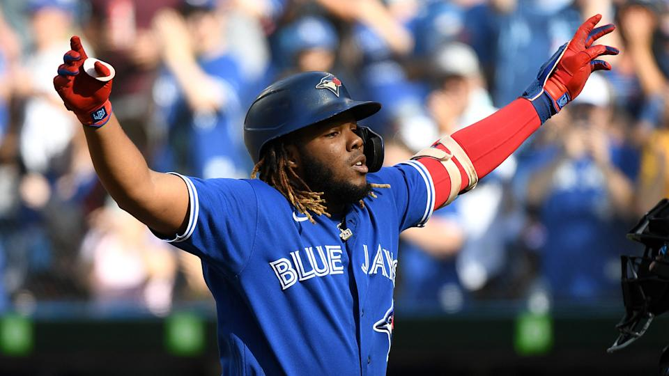 Vladdy delivered a huge home run in the first inning of Saturday's Blue Jays game. (Dan Hamilton-USA TODAY Sports)
