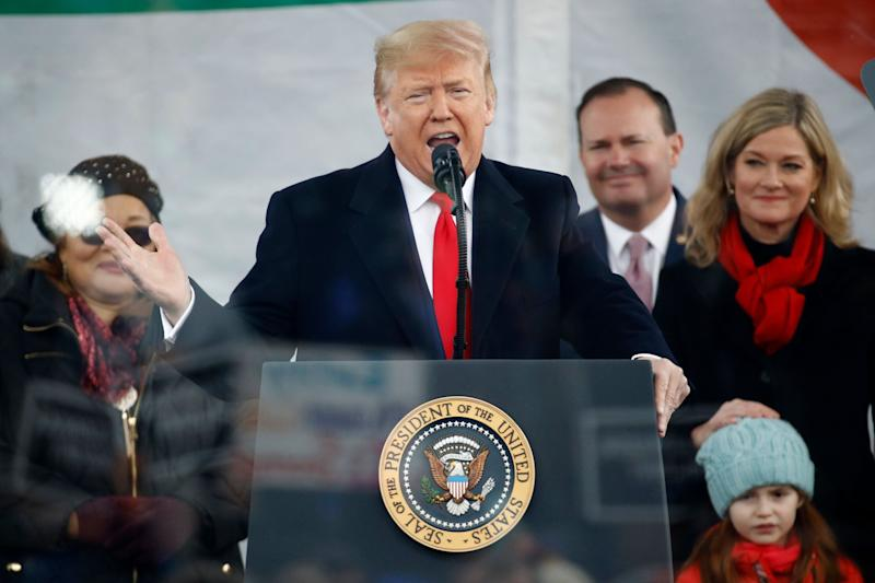 President Donald Trump speaks at a March for Life rally, Friday, Jan. 24, 2020, on the National Mall in Washington, D.C. (Photo: Patrick Semansky/ASSOCIATED PRESS)