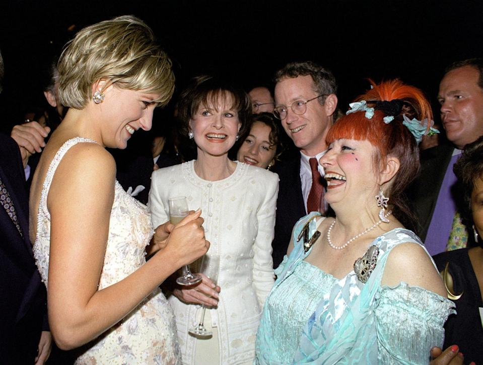 "NEW YORK, UNITED STATES - JUNE 23:  Diana, Princess Of Wales, At Christies In New York For A Preview Party For ""dresses, From The Collection Of Diana, Princess Of Wales"".  She Is Laughing With Designer Zandra Rhodes, Two Of Whose Designs Are In The Auction. She Is Wearing A Dress By Fashion Designer Catherine Walker.  (Photo by Tim Graham Photo Library via Getty Images)"