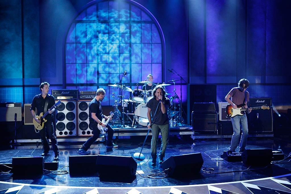 "As Conan's first musical guests, Pearl Jam debuted the new song ""Got Some"" off their upcoming album, ""Backspacer."" Paul Drinkwater/NBC - June 1, 2009"