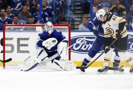 Dec 6, 2018; Tampa, FL, USA; Tampa Bay Lightning goaltender Louis Domingue (70) makes a save against the Boston Bruins during the third period at Amalie Arena. Mandatory Credit: Kim Klement-USA TODAY Sports
