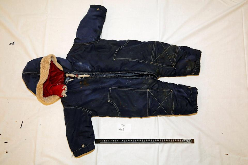 Clothes belonging to the 18-month old Iranian migrant boy Artin Irannezhad (via REUTERS)