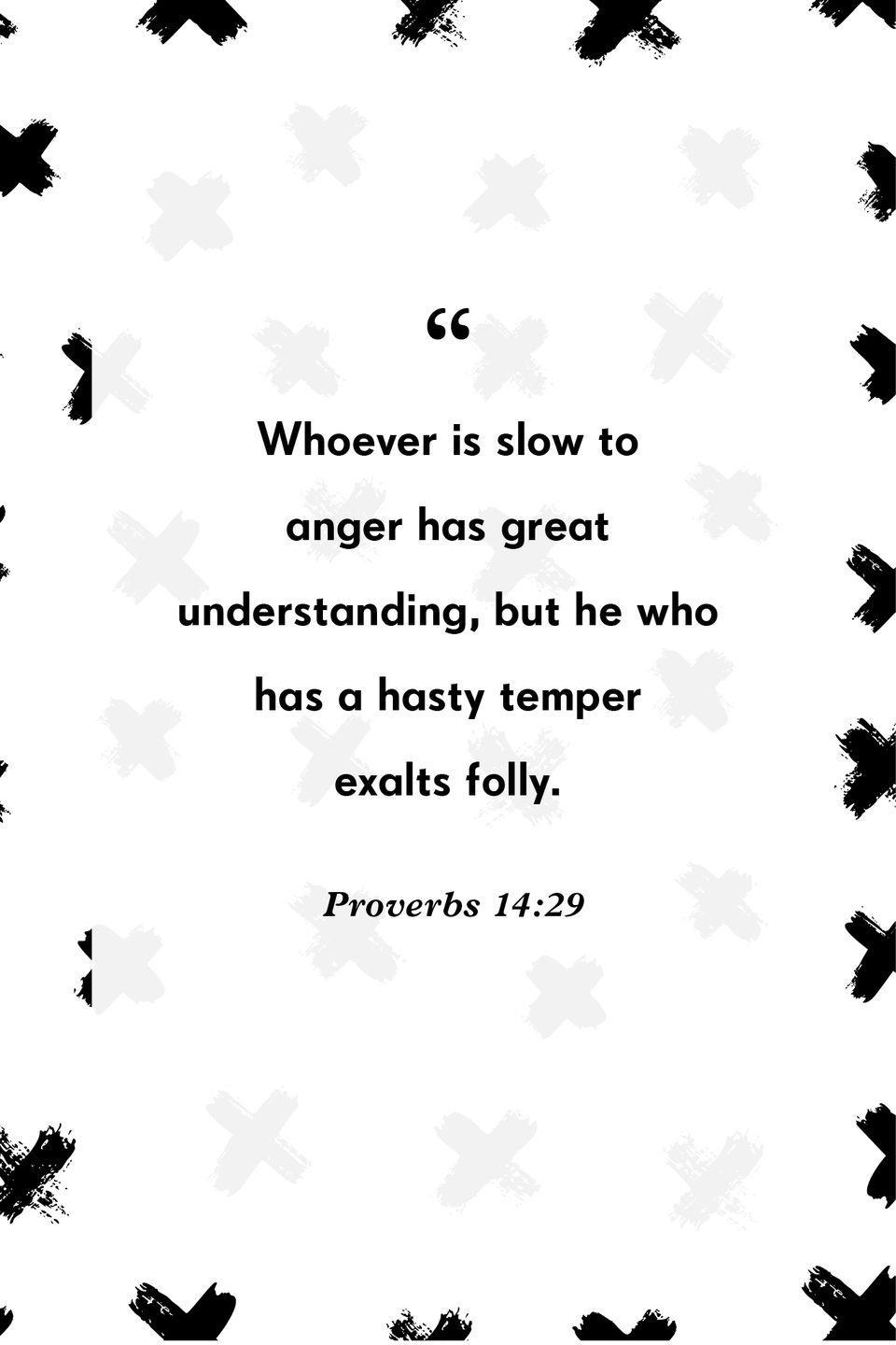 """<p>""""Whoever is slow to anger has great understanding, but he who has a hasty temper exalts folly.""""</p>"""