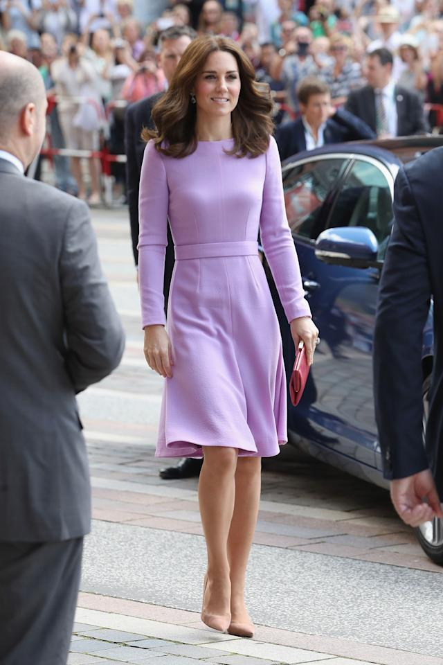 <p>In a dress by Emilia Wickstead, lavender amethyst earrings by Kiki McDonough and pumps by Gianvito Rossi visiting the Maritime Museum in Hamburg, Germany.   </p>