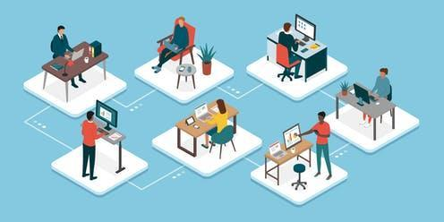"""<span class=""""caption"""">Remote working became the new normal in 2020. </span> <span class=""""attribution""""><a class=""""link rapid-noclick-resp"""" href=""""https://www.shutterstock.com/image-vector/teleworking-business-teamwork-professional-workers-connecting-1695249982"""" rel=""""nofollow noopener"""" target=""""_blank"""" data-ylk=""""slk:Elenabsl/Shutterstock"""">Elenabsl/Shutterstock</a></span>"""