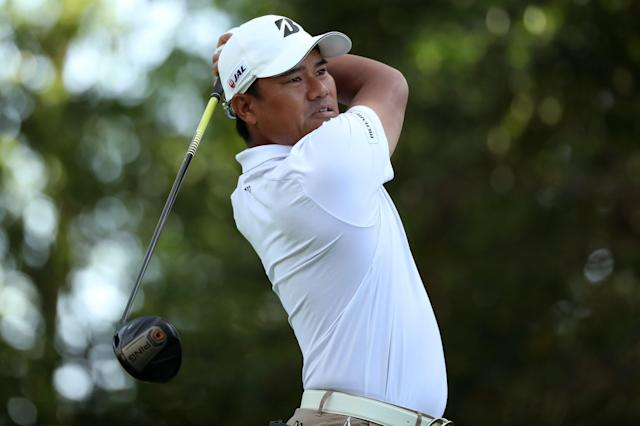 Yusaku Miyazato of Japan hits off the second tee during second round play of the 2018 Masters golf tournament at the Augusta National Golf Club in Augusta, Georgia, U.S., April 6, 2018. REUTERS/Lucy Nicholson