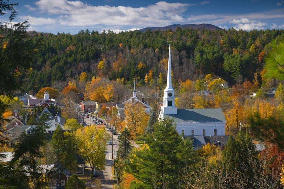 """<p>Settled among forest, fields, streams as well as Mount Mansfield, the highest peak in the Vermont, Stowe, is the perfect resort destination for those wanting to escape to a tiny New England town. <a href=""""http://www.gostowe.com"""" rel=""""nofollow noopener"""" target=""""_blank"""" data-ylk=""""slk:Visit Stowe"""" class=""""link rapid-noclick-resp"""">Visit Stowe</a> for recreation (think mountain biking in the summer, and skiing and snowboarding in the winter), relaxation, and a number of festivals.</p>"""