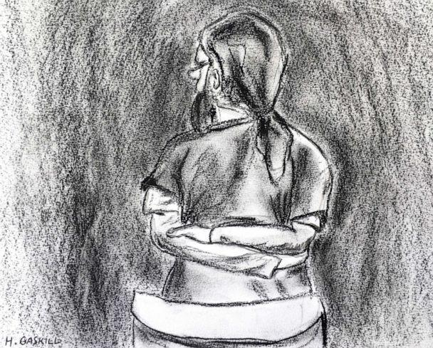 PHOTO: In this artist court sketch, Jarrod Ramos stands and pleads guilty in Anne Arundel Circuit Court on Oct. 28, 2019, in Annapolis, Maryland, in the slayings of five staffers at the Capital Gazette newspaper. (Hannah Gaskill/Capital News Service, University of Maryland, via AP)