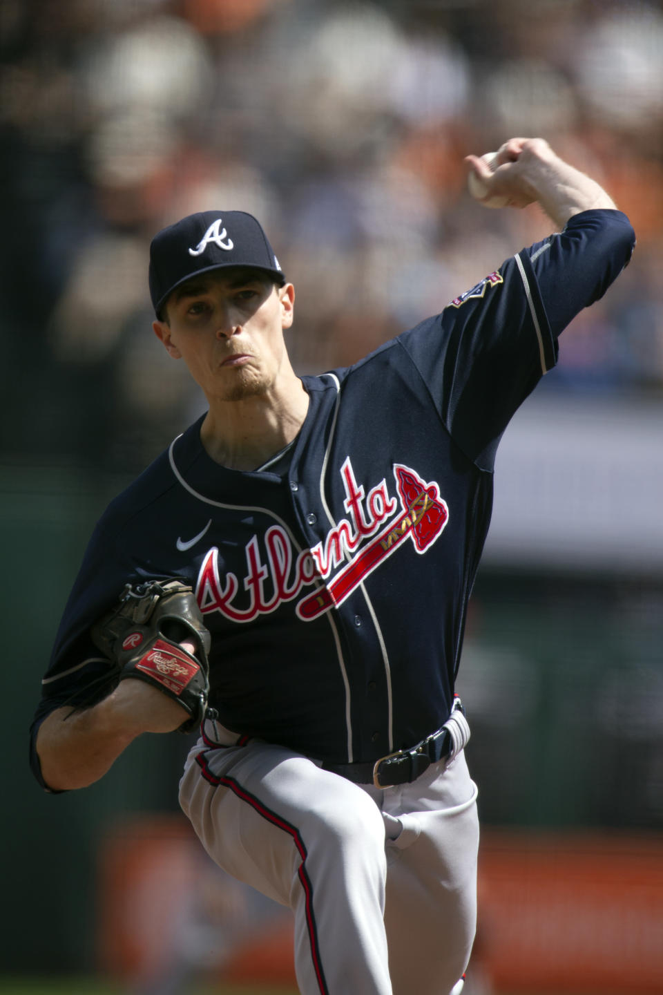 Atlanta Braves starting pitcher Max Fried delivers against the San Francisco Giants during the first inning of a baseball game, Sunday, Sept. 19, 2021, in San Francisco. (AP Photo/D. Ross Cameron)