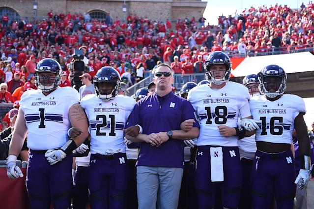 Northwestern enters the Music City Bowl on a seven-game winning streak. (Photo by Stacy Revere/Getty Images)