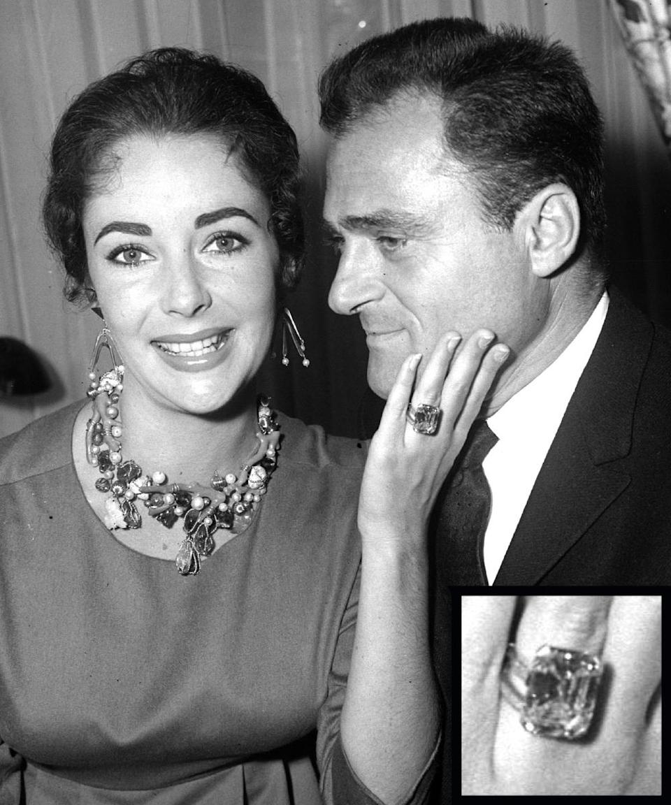 <p>Movie producer Michael Todd proposed to Elizabeth Taylor with a massive 30-carat diamond ring. The couple was married just over a year before his untimely death in 1958.</p>