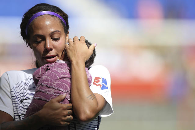 Orlando Pride forward Sydney Leroux returned to the team shortly after giving birth to daughter, Roux. (AP Photo/Steve Luciano)