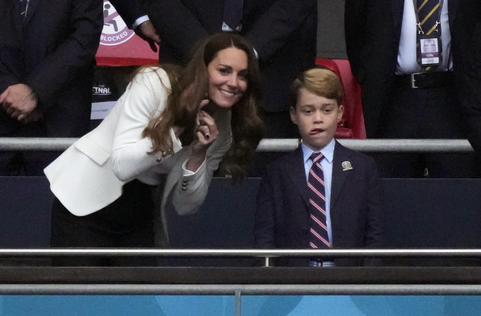 <p>William and Kate took George with them for the final of the Euro 2020 match at Wembley, between England and Italy. (Reuters)</p>
