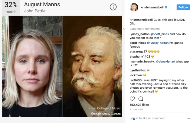 Kristen Bell instagramming about Google Arts & Culture app