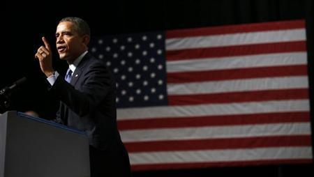 U.S. President Barack Obama speaks during a visit to Bladensburg High School in Bladensburg