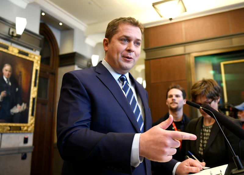 Conservative Leader Andrew Scheer speaks to reporters about rail blockades by activists protesting the Coastal GasLink project, on Parliament Hill in Ottawa on Feb. 14, 2020. (Photo: Justin Tang/CP)