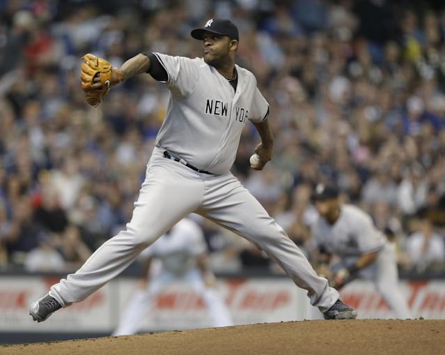2New York Yankees starting pitcher CC Sabathia throws to the Milwaukee Brewers in the first inning of a baseball game Saturday, May 10, 2014, in Milwaukee. (AP Photo/Jeffrey Phelps)