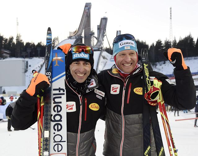 Wilhelm Denilf and Bernhard Gruber of Austria won the men's Nordic Combined Team Sprint cross-country skiing of the FIS World Cup in Lahti, Finland March 3, 2018. LEHTIKUVA/Markku Ulander via REUTERS ATTENTION EDITORS - THIS IMAGE WAS PROVIDED BY A THIRD PARTY. NO THIRD PARTY SALES. NOT FOR USE BY REUTERS THIRD PARTY DISTRIBUTORS. FINLAND OUT. NO COMMERCIAL OR EDITORIAL SALES IN FINLAND.