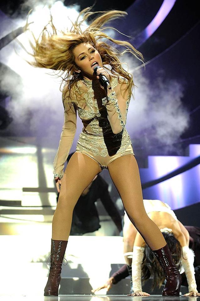 """British talk show host Jonathan Ross once called Miley Cyrus """"the scariest guest he ever had."""" Not because she was crazy, but because of the then 16-year-old's supremely self-assured appearance on his program. Apparently, Cyrus talked so much that Ross could barely get a word in edgewise! Dave Benett/<a href=""""http://www.gettyimages.com/"""" target=""""new"""">GettyImages.com</a> - November 7, 2010"""