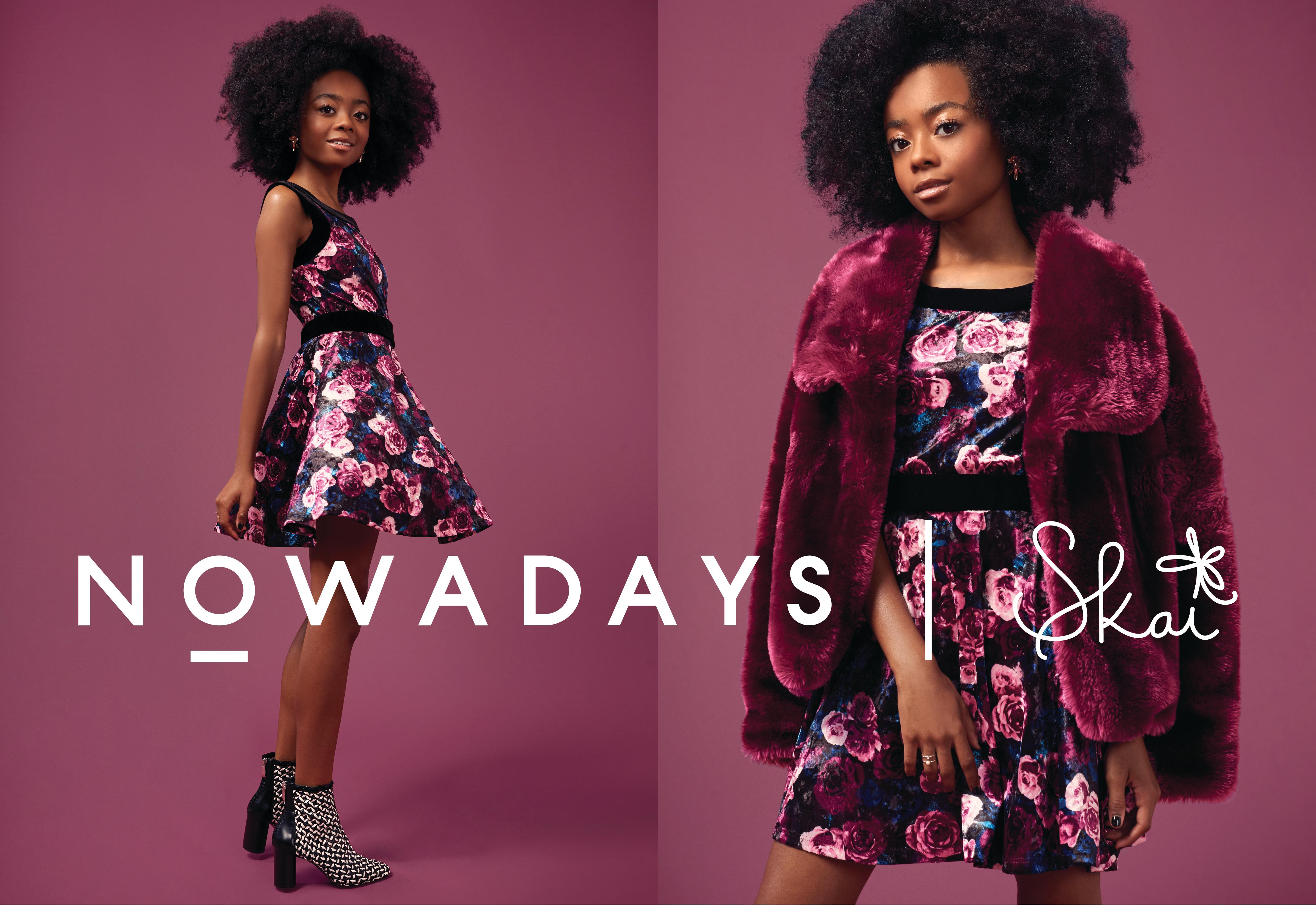 Skai Jackson mixes feminine with edgy details in this floral dress, faux fur coat and ankle bootie ensemble. (Photo courtesy of Nowadays)
