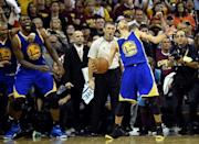Jun 16, 2015; Cleveland, OH, USA; Golden State Warriors guard Stephen Curry (30) celebrates winning in game six of the NBA Finals against the Cleveland Cavaliers at Quicken Loans Arena. Mandatory Credit: Bob Donnan-USA TODAY Sports