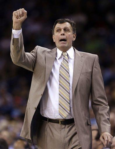Houston Rockets head coach Kevin McHale calls out to his team in the first half of an NBA basketball game against the New Orleans Hornets in New Orleans, Friday, Jan. 25, 2013. (AP Photo/Gerald Herbert)
