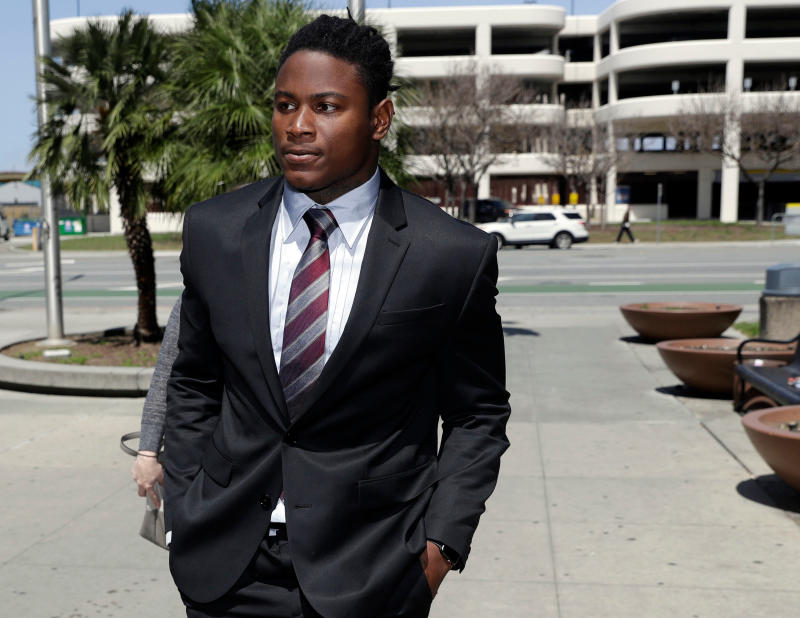 In this April 12, 2018, file photo, San Francisco 49ers linebacker Reuben Foster arrives at Santa Clara County Superior Court. (AP)