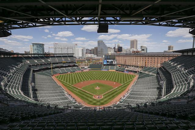 Camden Yards ballpark sits empty of fans during the Baltimore Orioles against Chicago White Sox America League baseball game in Baltimore, Maryland April 29, 2015. In what will be a first for Major League Baseball, the Baltimore Orioles will host the Chicago White Sox on Wednesday in a stadium closed to fans as Baltimore copes with some of the worst U.S. urban rioting in years.REUTERS/Shannon Stapleton