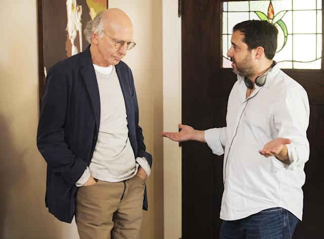 David and Jeff Scaffer on the set of 'Curb Your Enthusiasm' (Photo: HBO)