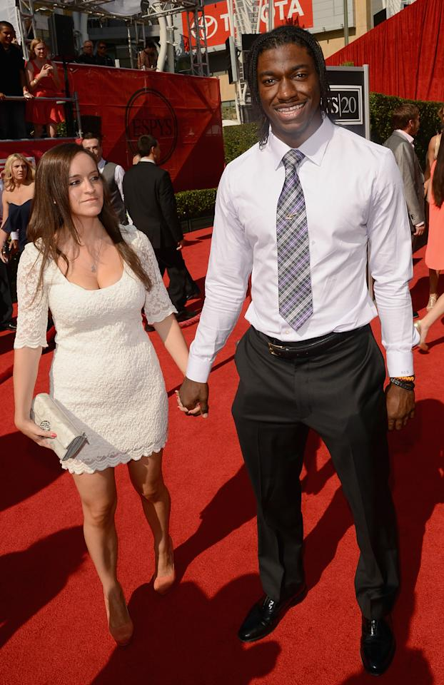 LOS ANGELES, CA - JULY 11: (R-L) Washington Redskins player Robert Griffin III with Rebecca Liddicoat arrive at the 2012 ESPY Awards at Nokia Theatre L.A. Live on July 11, 2012 in Los Angeles, California.  (Photo by Jason Merritt/Getty Images)