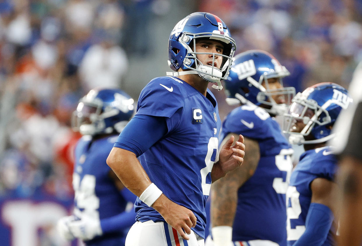 EAST RUTHERFORD, NEW JERSEY - SEPTEMBER 12: Daniel Jones #8 of the New York Giants reacts against the Denver Broncos during the fourth quarter at MetLife Stadium on September 12, 2021 in East Rutherford, New Jersey. (Photo by Tim Nwachukwu/Getty Images)