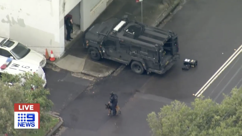 An armoured police vehicle is seen in Sydney's suburb of Lewisham.